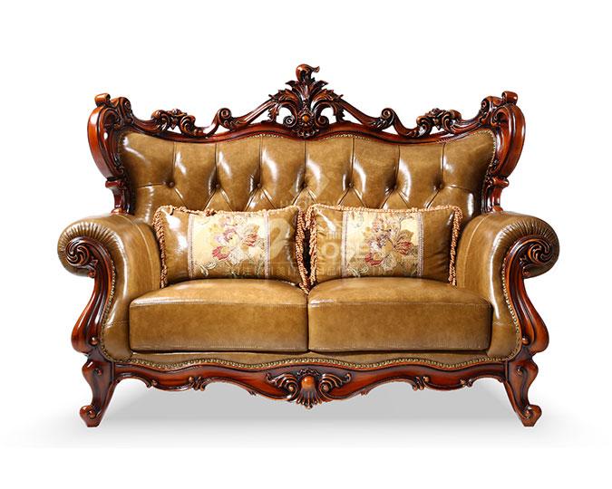 高档美式古典实木头层牛皮双人沙发