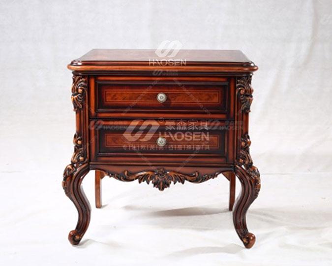 美式古典实木床头柜储物柜