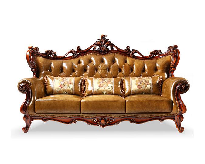 美式古典真皮实木雕花客厅三人沙发