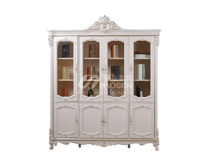 高档美式古典纯实木书房四门书柜