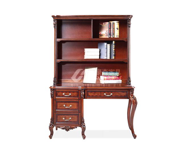 高档美式古典纯实木高收纳双柜书台