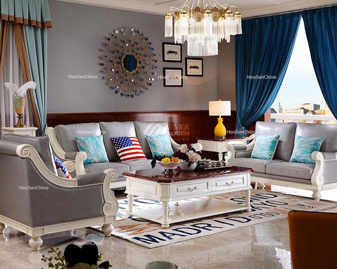 简欧客厅白蜡木全实木皮艺双人沙发