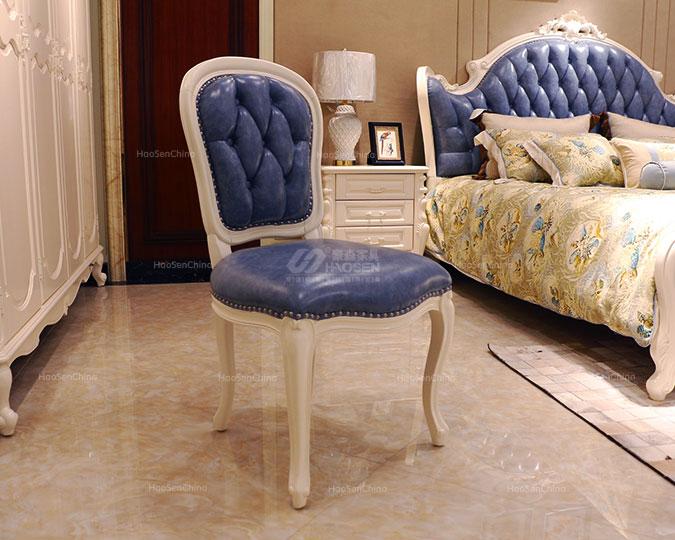 美式简约无扶手软包靠背实木皮餐椅