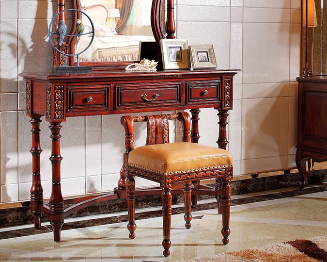 简约美式风格实木真皮卧室梳妆凳