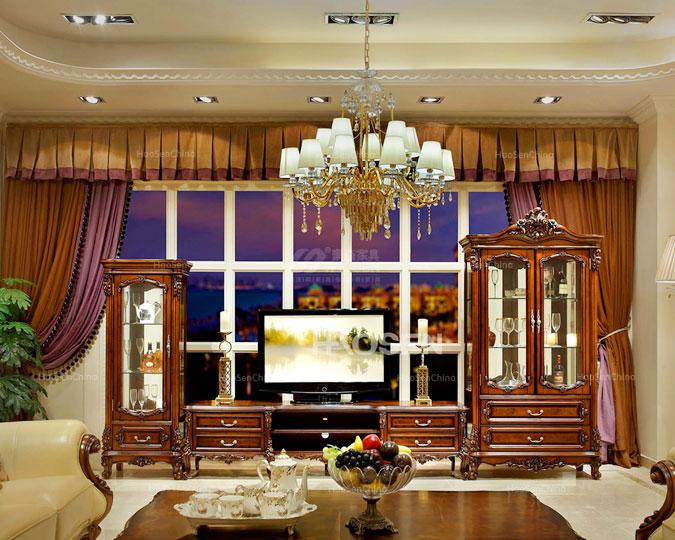 高档美式实木古典客厅高收纳电视柜