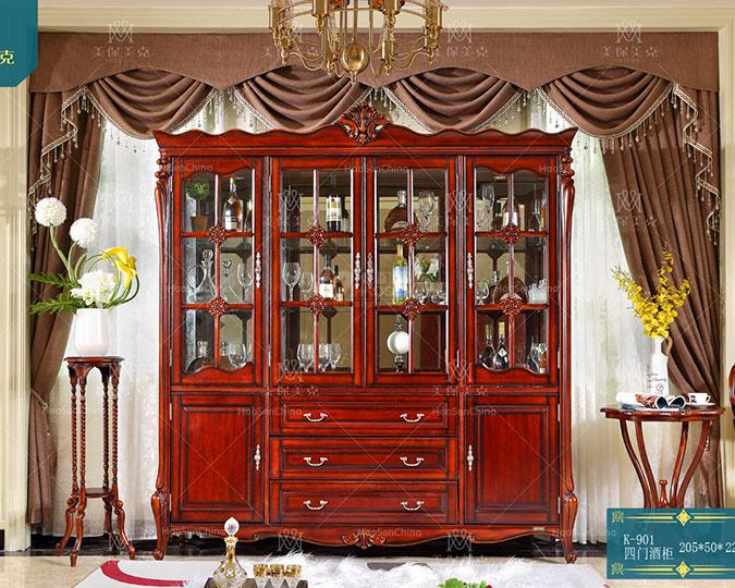 中小户型简美风格四门实木雕花酒柜