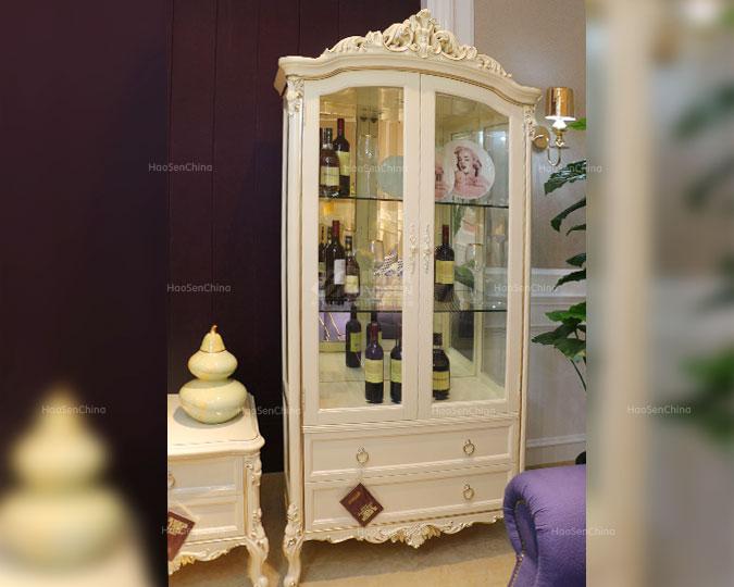 全实木美式古典雕花储物双开门酒柜
