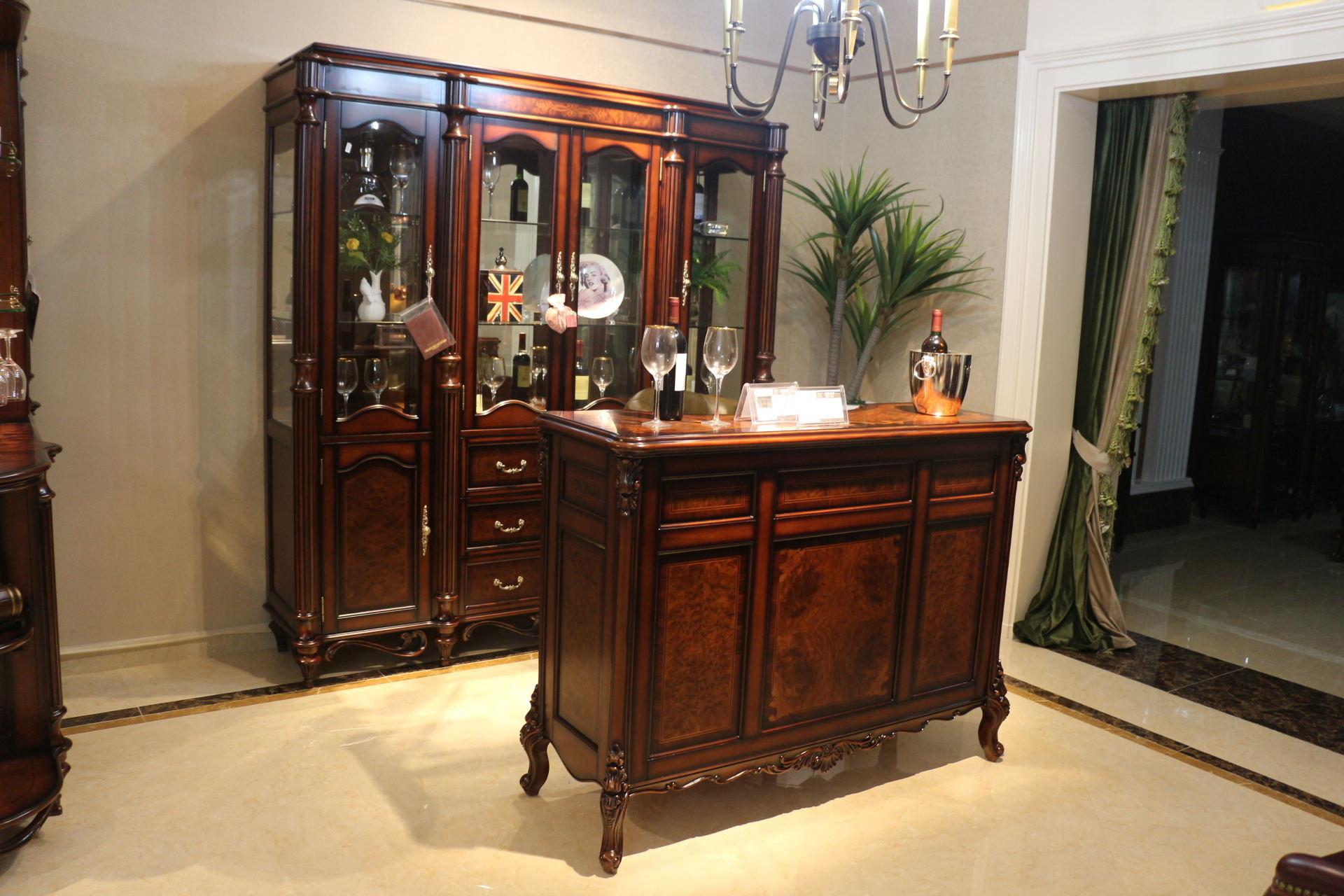 高档美式古典乡村实木雕刻家用吧台