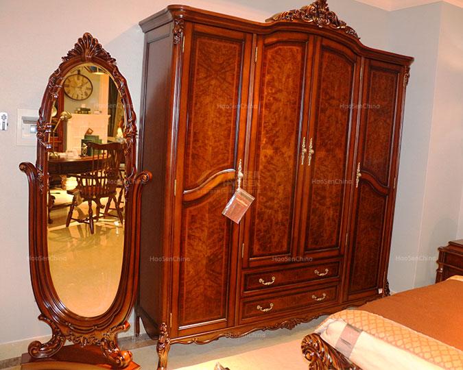 美式古典实木全身卧室落地穿衣镜