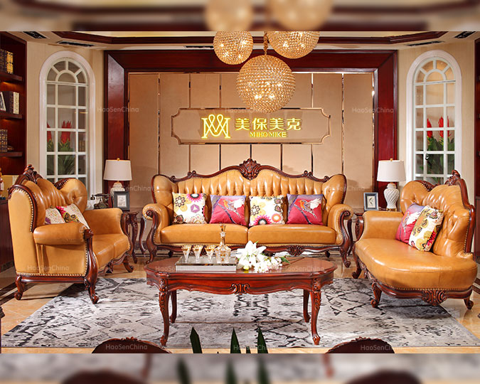 经典简美高档真皮实木客厅四人沙发