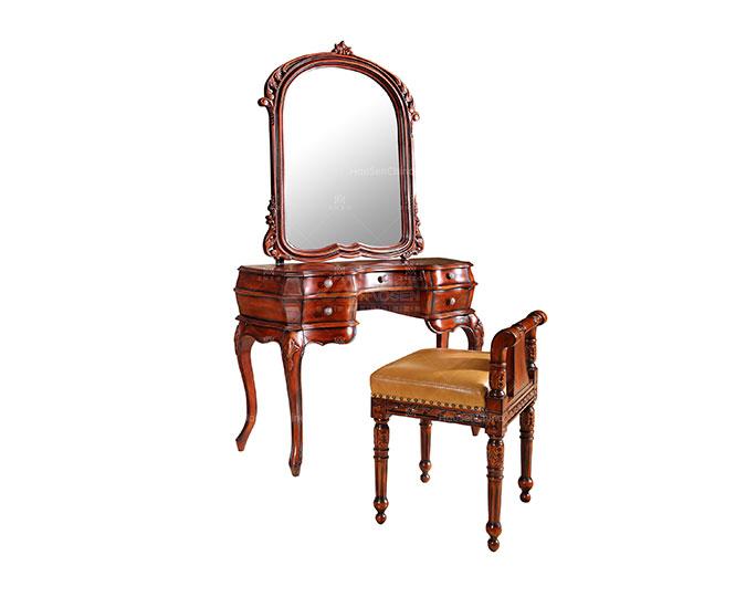 美式简约经典时尚全实木真皮梳妆凳