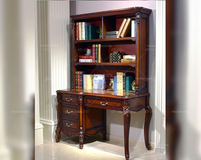 美式实木新古典雕花设计上下书柜桌