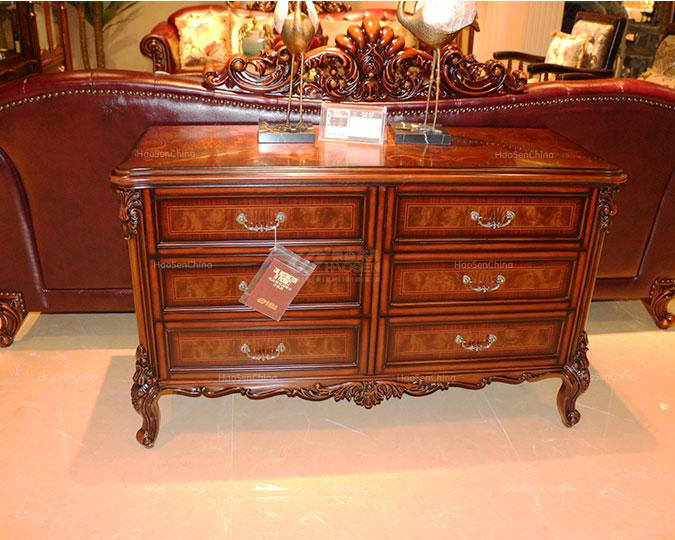 全实木美式古典客厅收纳储物六斗柜