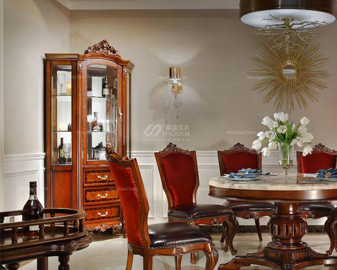 美式古典实木多功能客厅三角酒柜