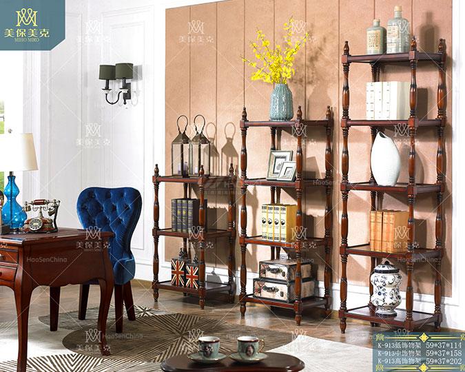 美式简约风格全实木花架多层置物架