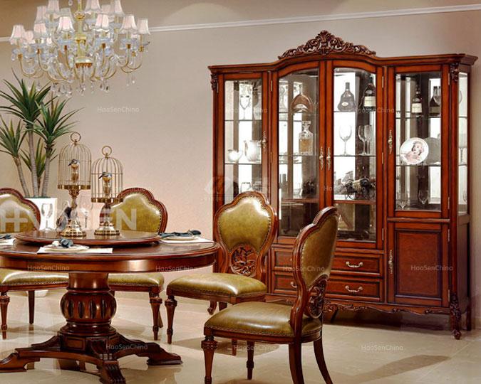美式高档实木雕花餐厅储物四门酒柜