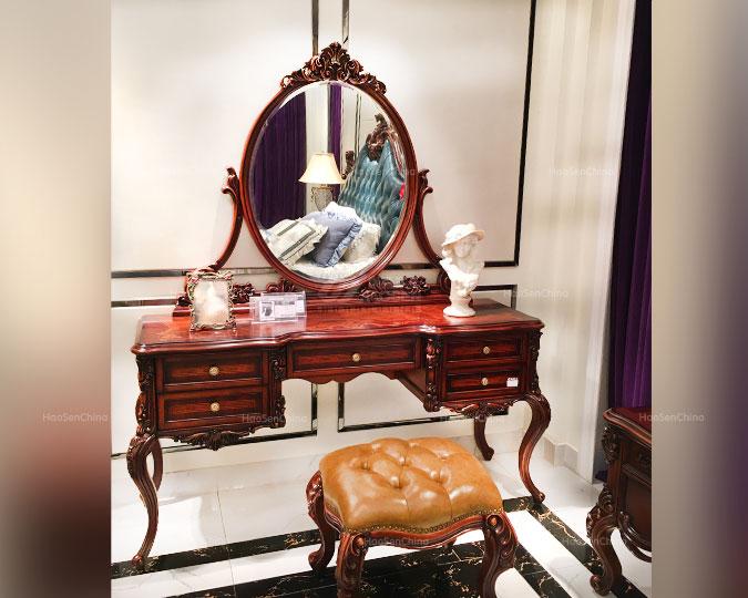 高档美式古典卧室实木雕花梳妆台
