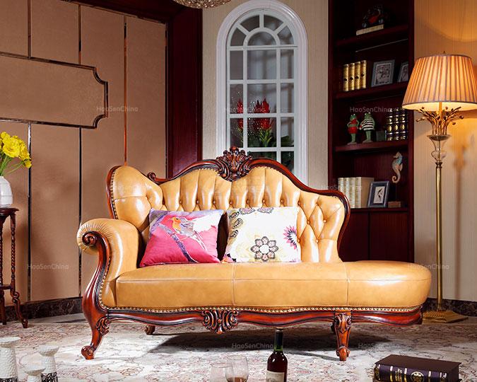 小户型美式风格全实木转角贵妃椅