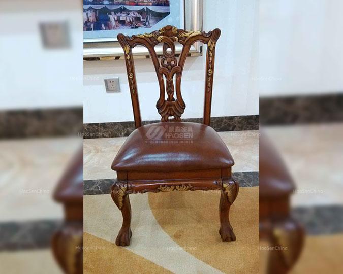 真皮纯实木仿古靠背美式简约茶椅