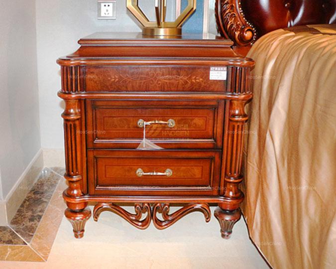 美式实木古典精美雕花高收纳床头柜