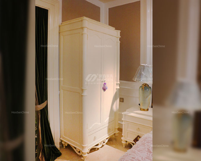 美式简约纯实木卧室白色双门衣柜