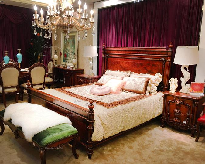 美式新古典乡村标准实木卧室双人床