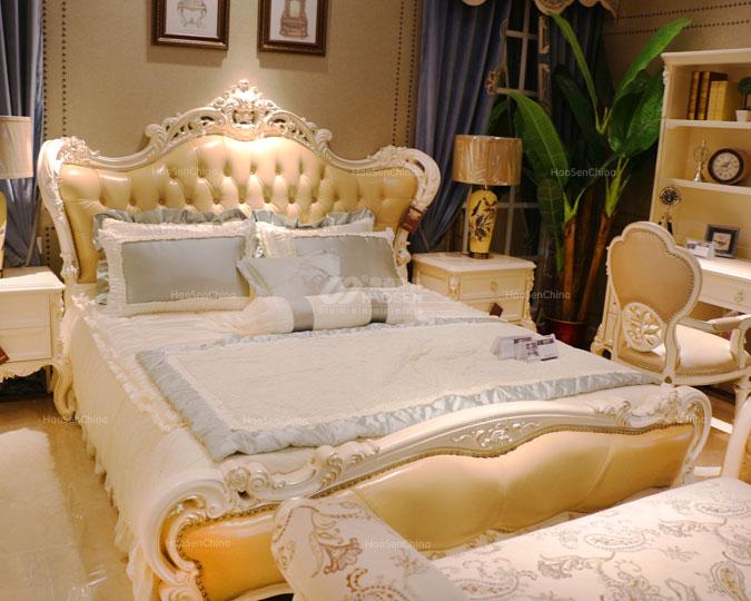美式新古典实木宫廷雕花卧室双人床