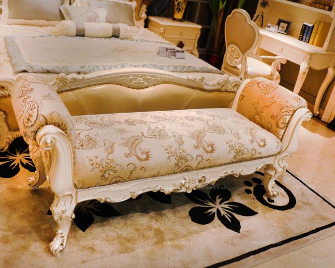 美式新古典实木雕花真皮卧室床尾凳