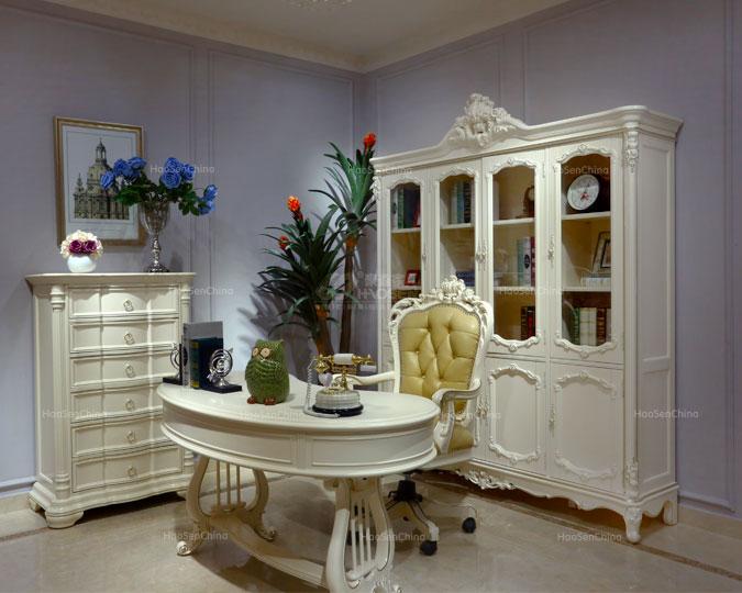 美式古典纯实木珍珠白别墅四门书柜