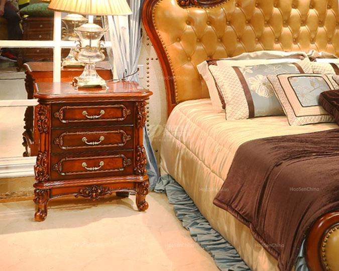 美式乡村实木新古典雕花卧室床头柜