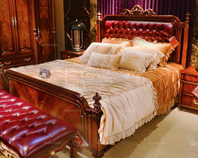 美式古典实木豪华深色卧室双人床
