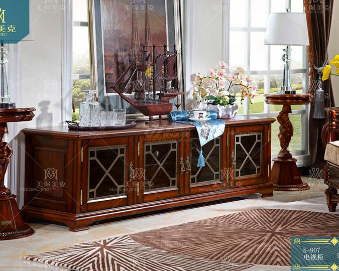 美式全实木简美风格客厅电视柜