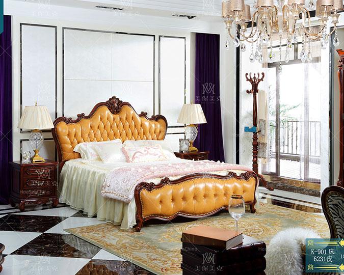 简美实木真皮软靠卧室双人婚床