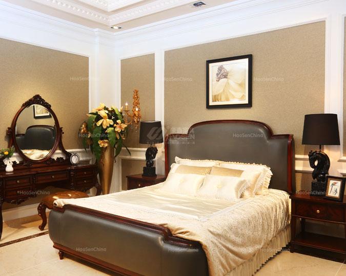 美式简约乡村实木软包皮卧室双人床