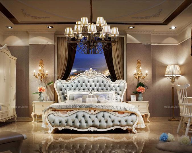 美式新古典实木雕花真皮软包卧室床