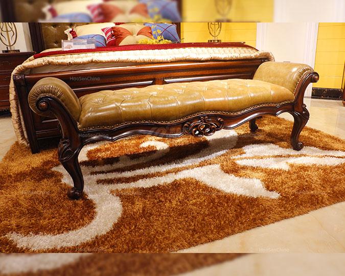 美式全实木卧室真皮床尾凳换鞋凳