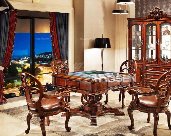 美式古典别墅实木雕花深色麻将台
