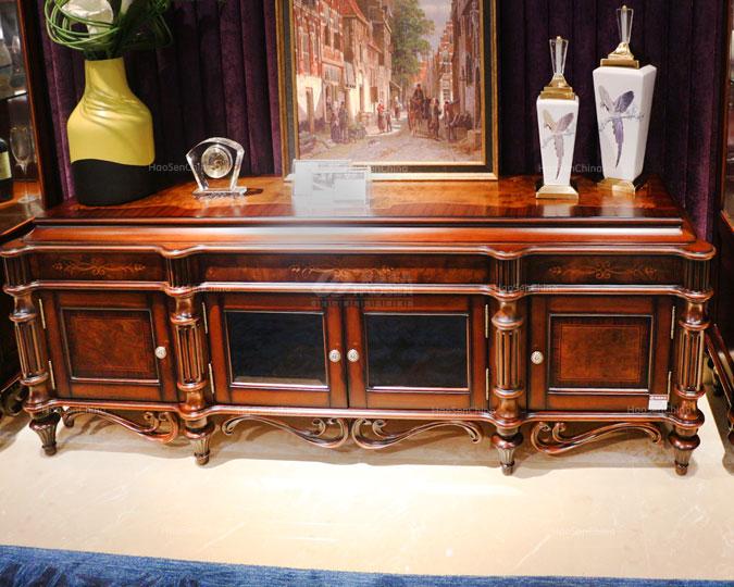 美式古典实木雕花客厅收纳电视机柜