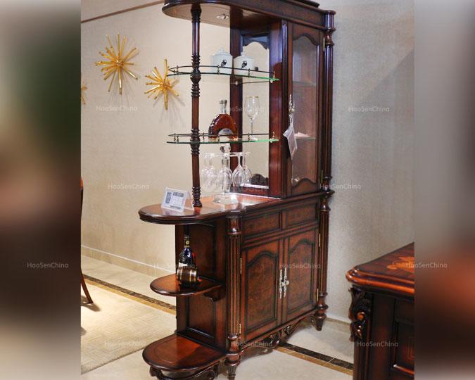 美式古典实木雕花高收纳隔断间厅柜