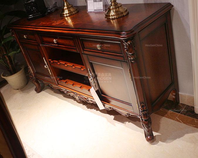 美式新古典实木雕花储物收纳餐边柜