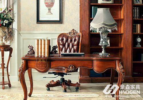 美保美罗美式古典书房书桌书椅.jpg