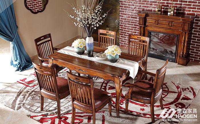 北欧世家简美风格全实木餐桌