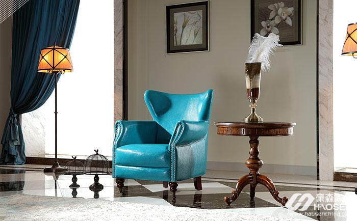 北欧世家简美风格全实木皮艺休闲椅