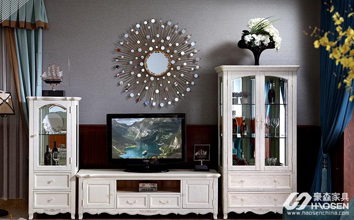 北欧世家简美风格全实木客厅组合电视柜