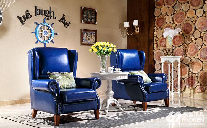 北欧世家简美风格全实木皮艺主人椅