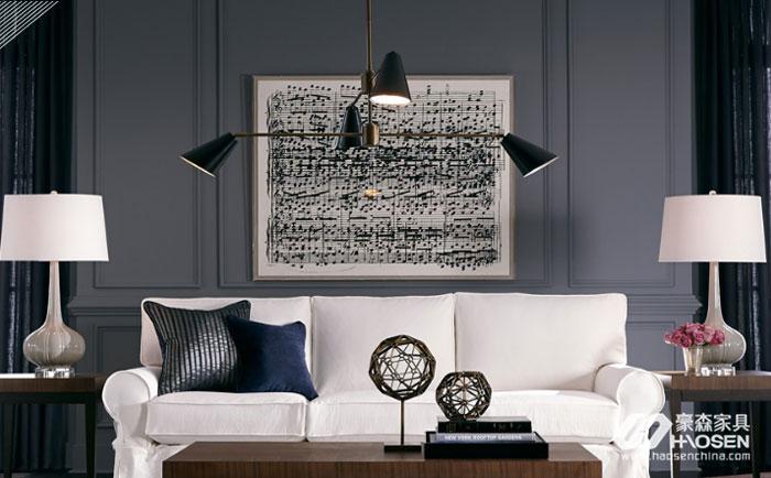 美式家具与现代风格灯的搭配图