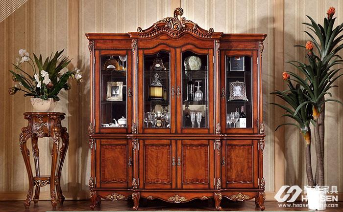 美保美罗美式古典全实木四门酒柜