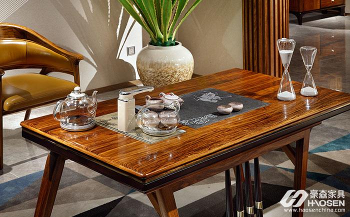 豪森缘创新北欧乌金木餐桌