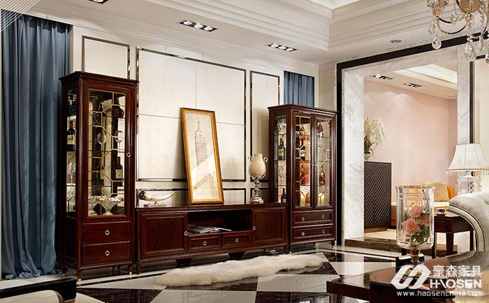 圣巴利美式轻奢乌金木电视厅柜