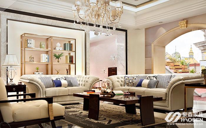 圣巴利美式轻奢乌金木真皮沙发